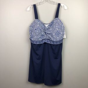 NWT Lands End Swimsuit Dress Top Built In Bra 18W